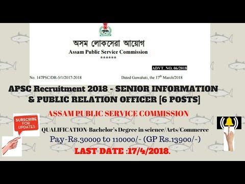 APSC RECRUITMENT 2018   senior information and public relation officer