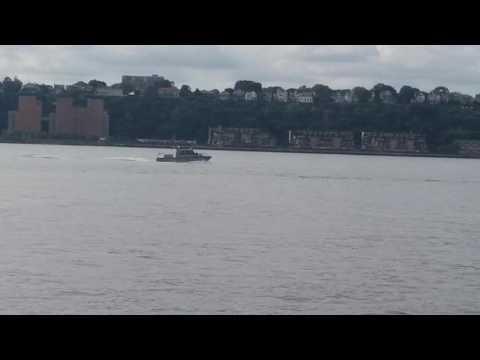 NYC DEP Police Marine Unit Patrolling The Hudson River In Manhattan, New York