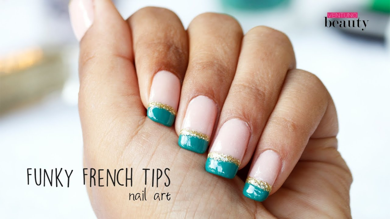 Diy Funky French Tips Youtube