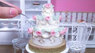 Miniature Real Edible Rose Wedding Cake - mini food ASMR