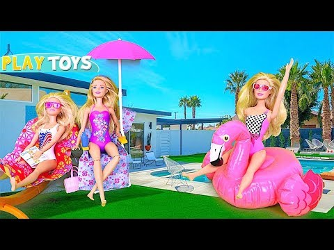 Barbie Doll Morning Routine Dress Up For Barbie Swimming Pool!