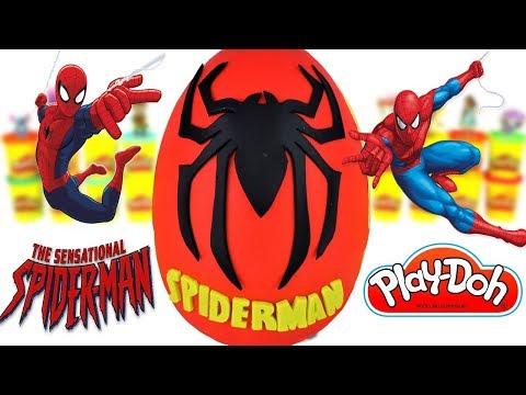 Huevo sorpresa gigante de SPIDERMAN El Hombre Araña de plastilina Play doh en Español.