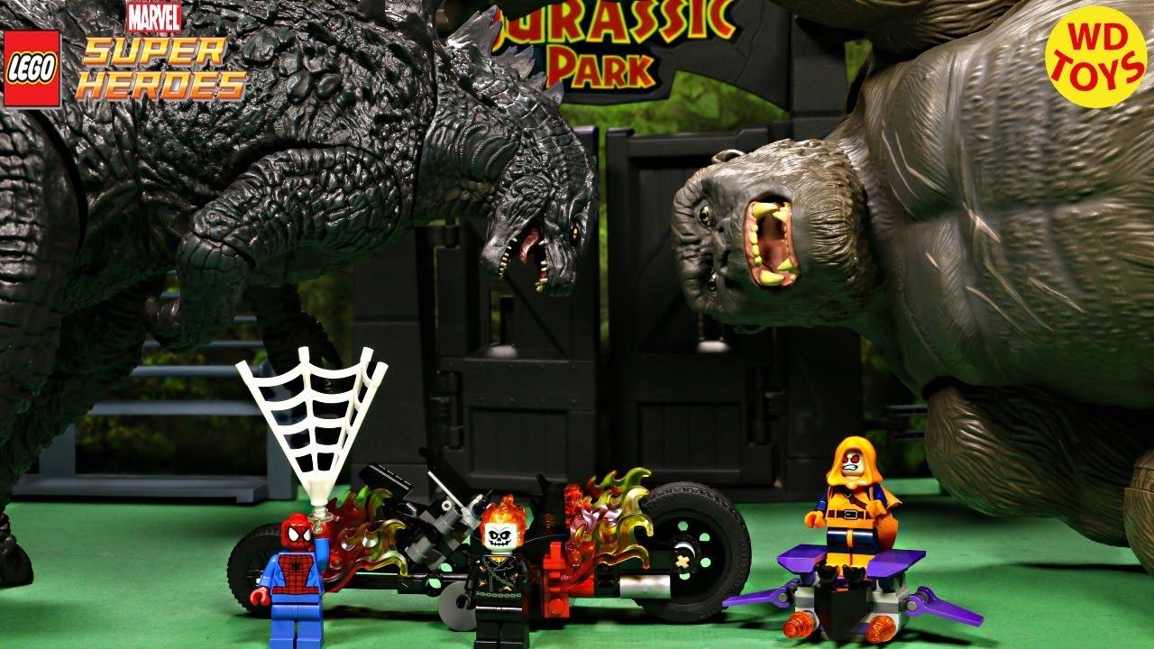 New Lego Spider Man Ghost Rider Teamup vs King Kong & Godzilla Dinosaur Toys Unboxing 76059