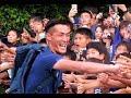 サッカー日本代表選手によるハイタッチ会の様子