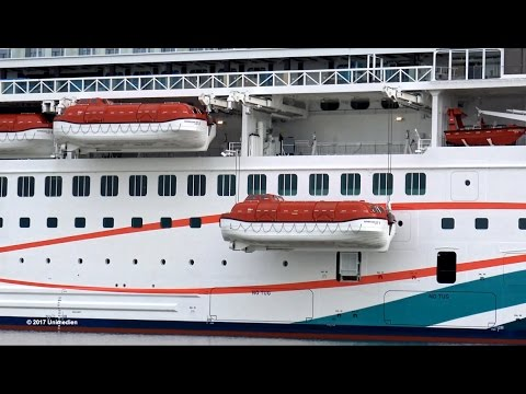 Norwegian Joy Test Of The Holding Devices Of The Lifeboats Time Lapse 4k Quality Video