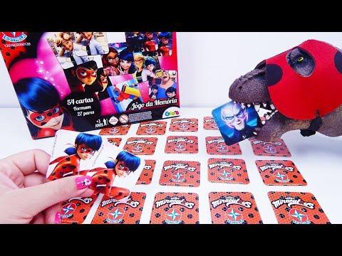Canal ToyKids Joga Jogo da Memória Miraculous Ladybug Menino Vs Menina Participação do Sr Dinossauro