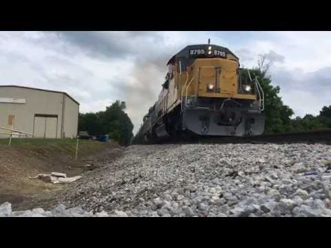 W&LE Train 237 flies westbound at Brewster, Ohio (flips my phone over)