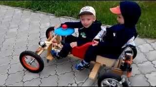 Самодельный детский электромобиль картинг для двоих
