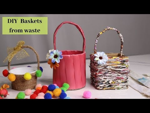 3 Easy DIY  Basket Making Idea At Home Out of Waste By Aloha Crafts