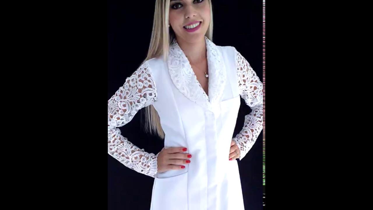 Jaleco Feminino Acinturado Gabardine Elegancy Youtube