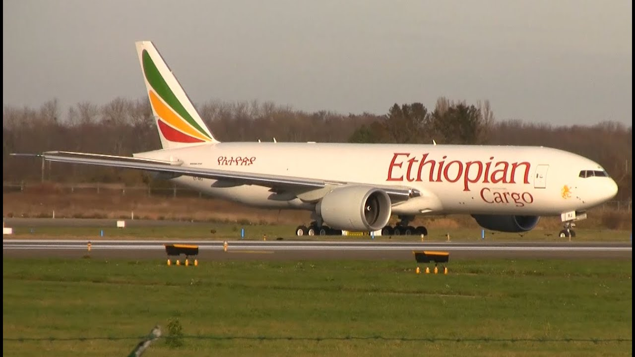 Ethiopian cargo 777F ET-ARJ taxi and take-off at Liége airport