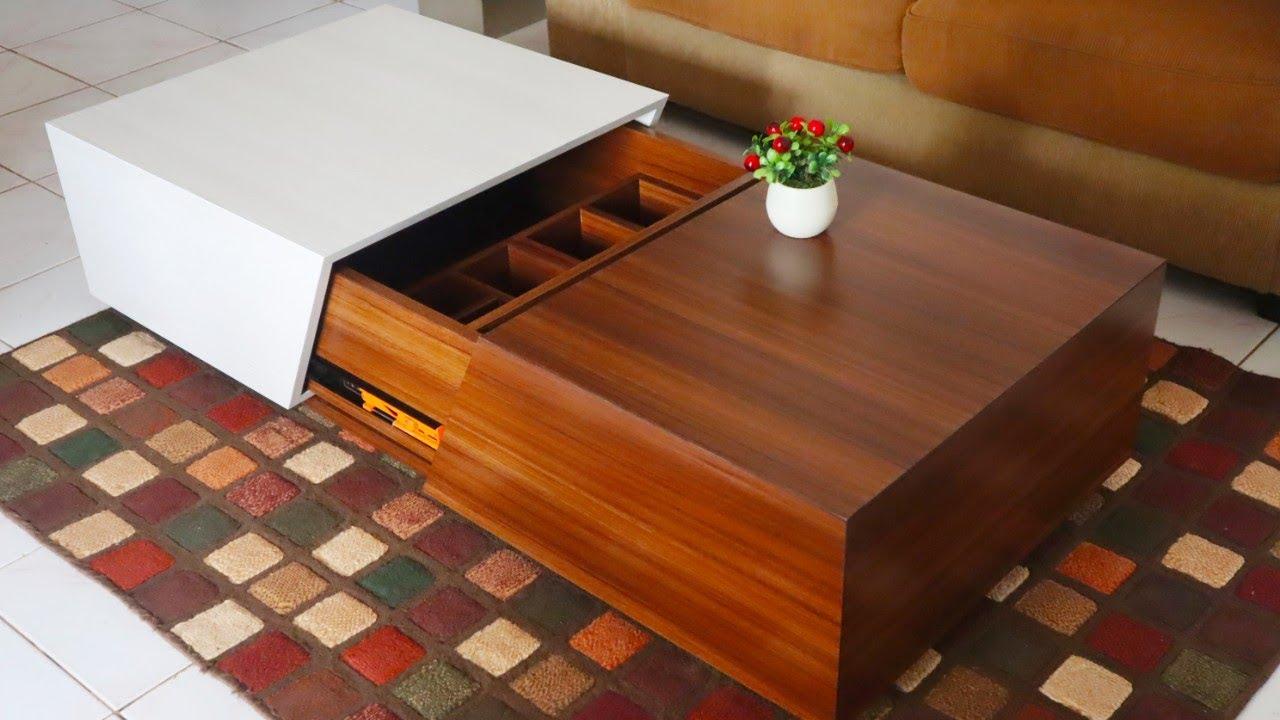 Sliding Top Coffee Table Meja Ruang Tamu Sliding Youtube Meja ruang tamu minimalis modern