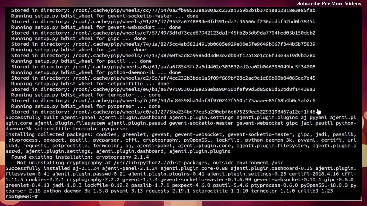 Ajenti installing On Ubuntu 18 04