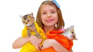 Katy arrange Cat's bathtime