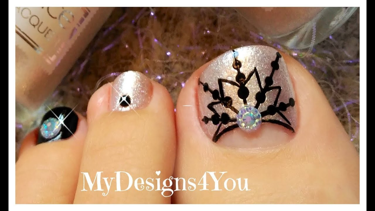 Winter Toe Nail Art | New Year\'s Snowflake Pedicure ♥ Новогодний ...