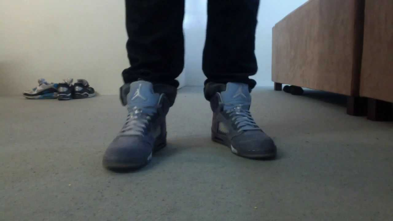a2a8a58aa27 2011 Air Jordan Wolf Grey Retro V On Feet - YouTube