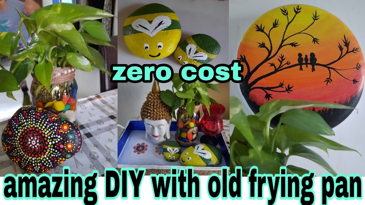 Diy For Home Decor Reuse Of Old Frying Pan Very Easy Diy Painting Ideas Easy Dot Painting Youtube