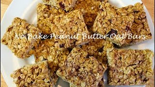 No Bake Peanut Butter Oat Bars Recipe