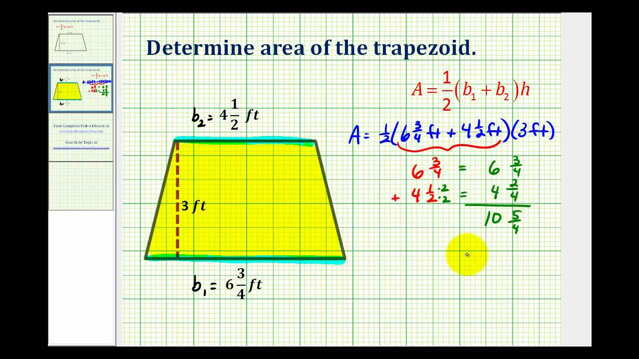 Ex: Area Of A Trapezoid Using Mixed Numbers How To Calculate