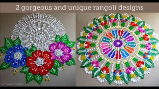 2 Gorgeous and unique rangoli designs | Beautiful relaxing sand art