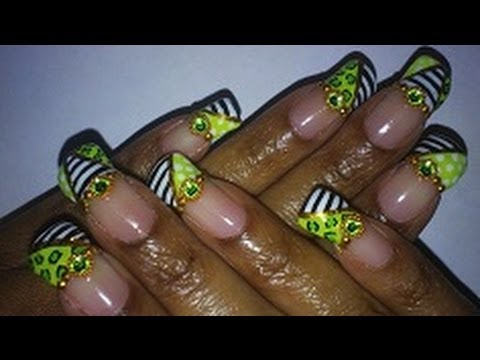 Notw black white lime neon green nail design stripes leopard notw black white lime neon green nail design stripes leopard polkadot youtube prinsesfo Images