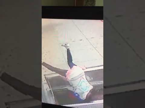 Woman falls in an underground sewage