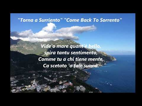 Italian Songs KARAOKE Torna a Surriento COME BACK TO SORRENTO best popular sing along song songs