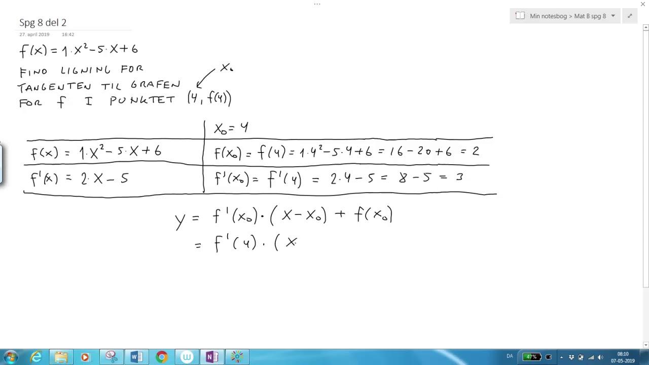 Ligning for tangent - Eksempel