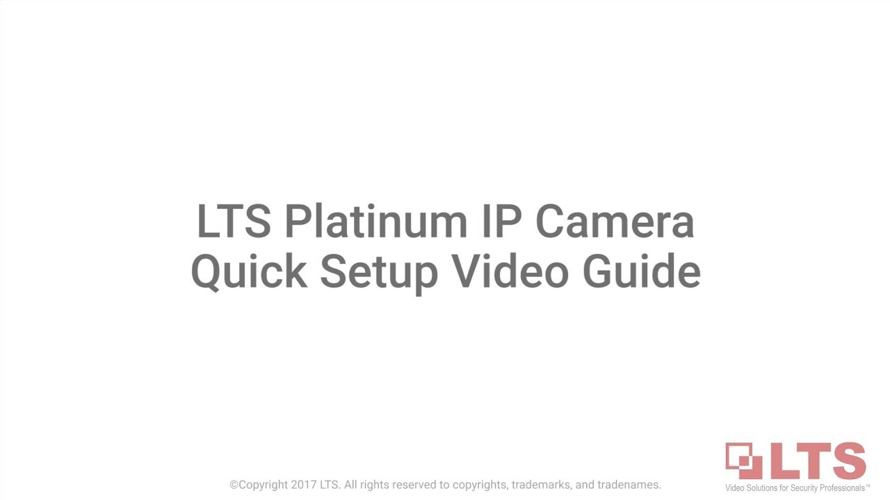 platinum ip camera quick setup video guide [ 1280 x 720 Pixel ]