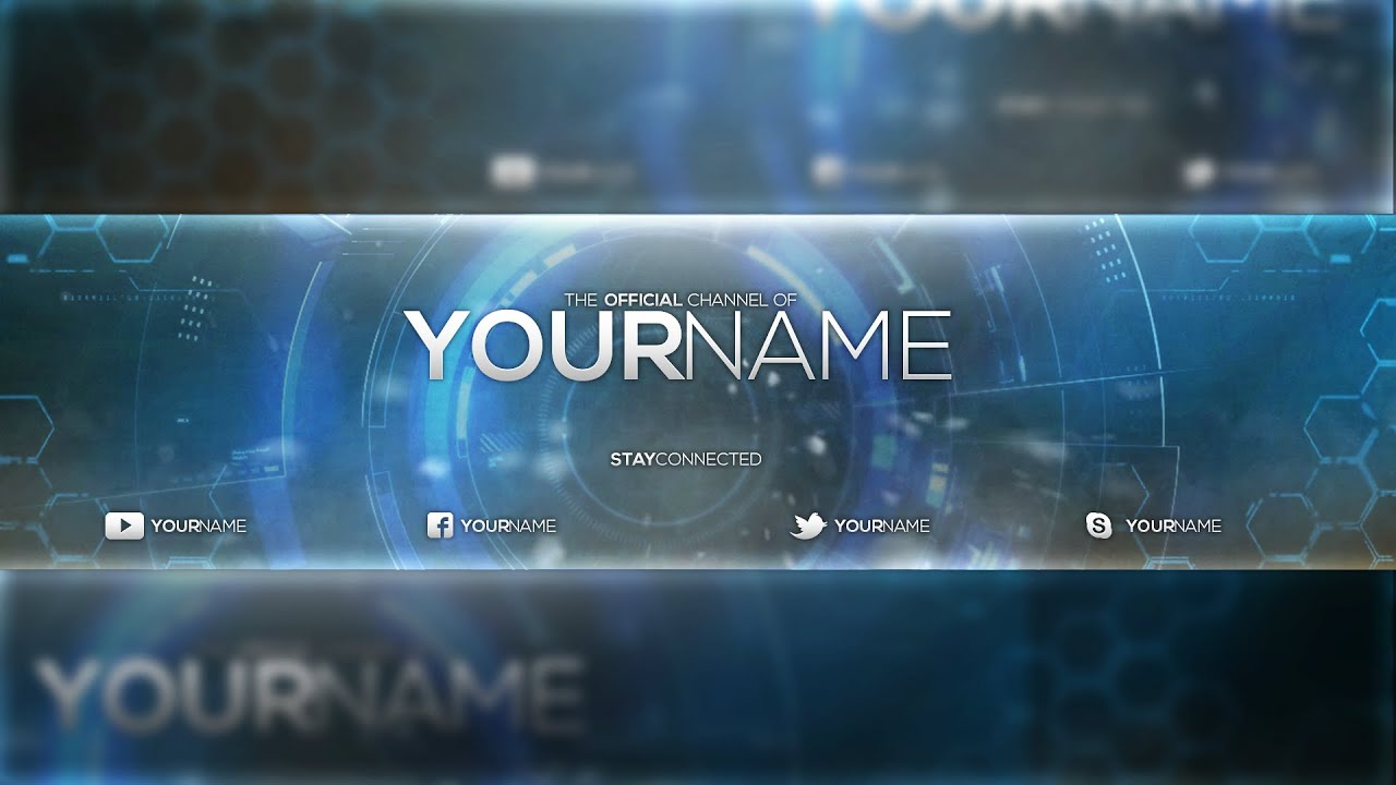blue glass youtube banner template fezodesigns free download