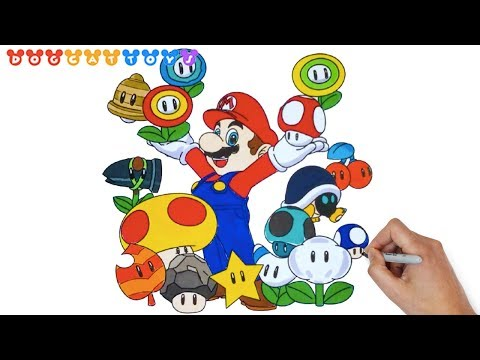 How To Draw Super Mario Bros Mario Mushrooms 237 Drawing