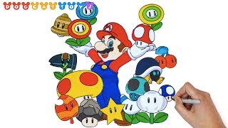How to Draw Super Mario Bros, Mario & Mushrooms #237 | Drawing Coloring Pages Videos for Kids