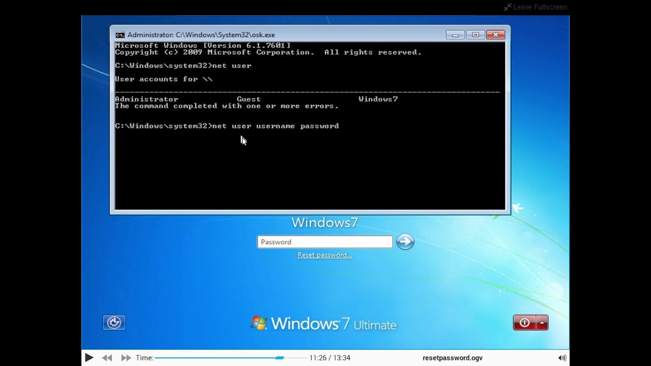 resetting windows password with linux