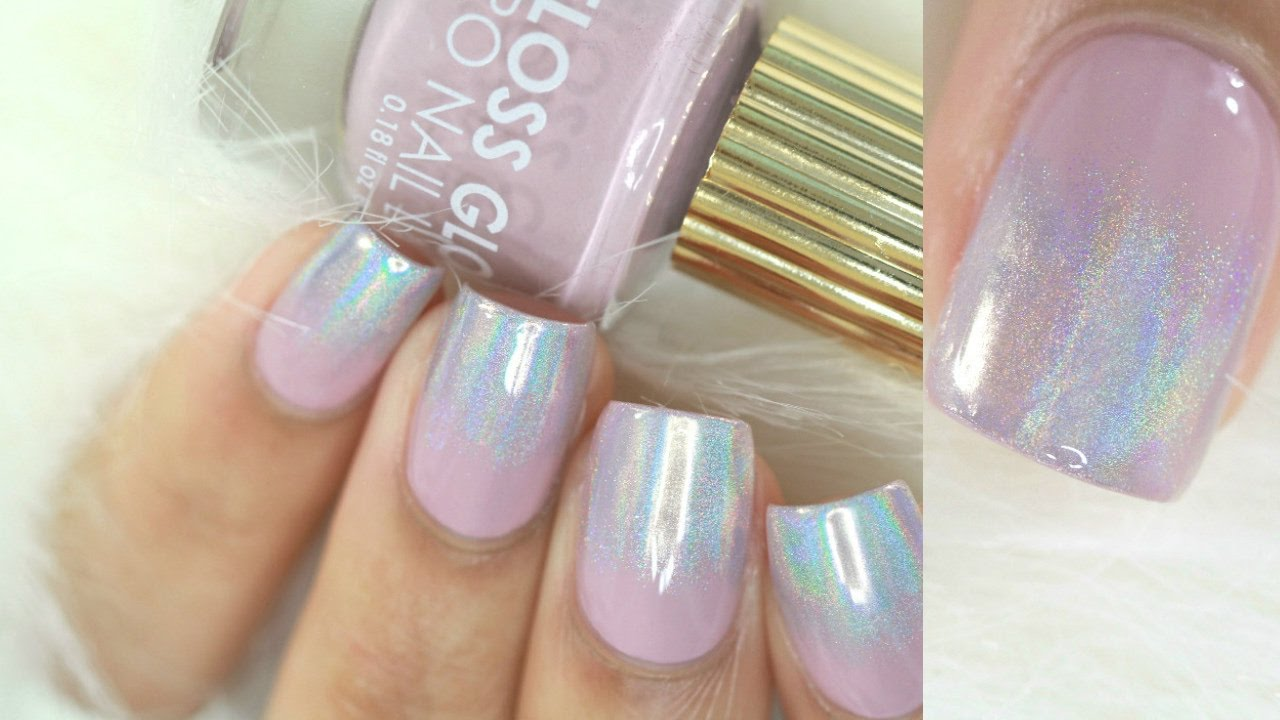 Easy Holo Powder Ombre Nails-NO GEL - YouTube