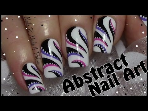 Abstract Stripe Nail Art Design Hand Painted Nails Youtube