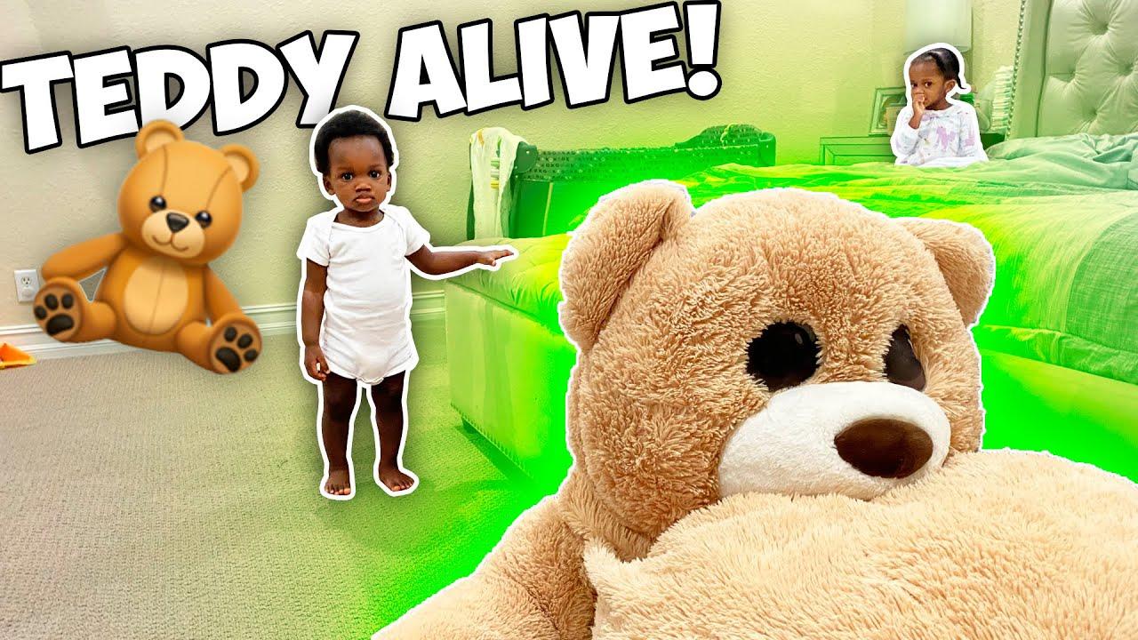 MOVING Teddy Bear Prank On 1 YEAR OLD!