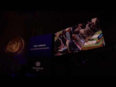 Leonardo Di Caprio during the World Oceans Day 2017, praising Ibu Susi Pudjiastuti of Indonesia
