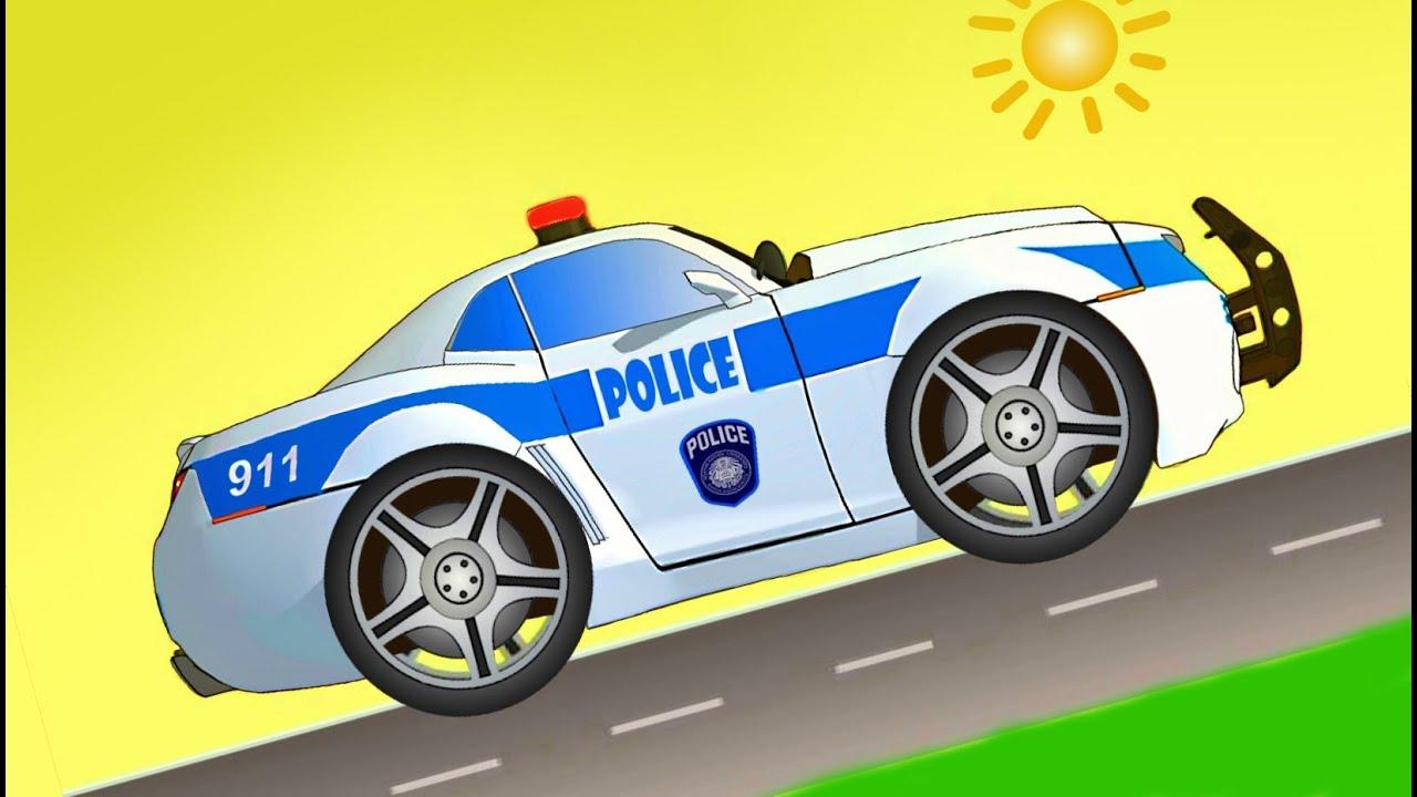 Cartoni animati per bambini piccoli macchina polizia camion dei