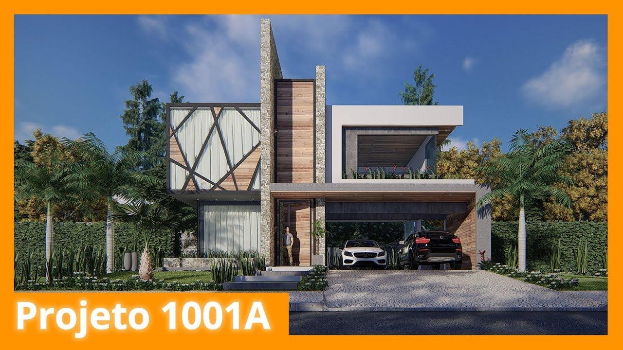 Projeto de sobrado com fachada imponente 1001a youtube for Casa moderno kl