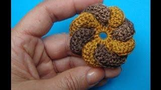 Вязаный цветок Crochet flower pattern Урок 55