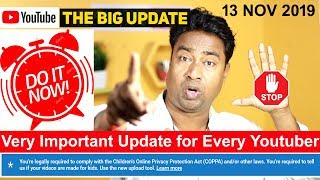 Youtube New Update : Is Your Channel includes Kids Content or Not (COPPA) Children protection act