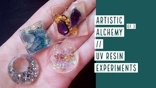 Artistic Alchemy Experiment nr.3 // UV resin with inclusions in silicone mold