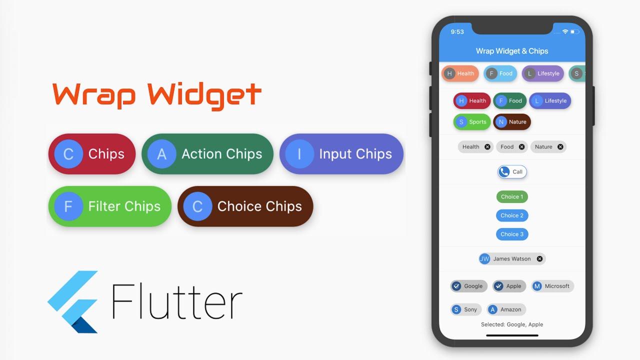 Google's Flutter Tutorial   Wrap Widget,Chip, Action Chips, ...