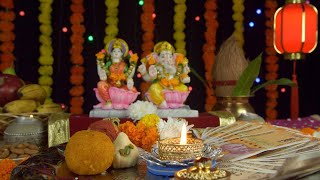 A colorful temple/puja Ghar decorated on the occasion of Diwali - the festival of India