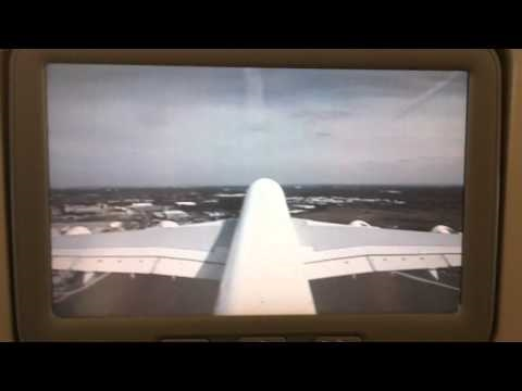 Tail camera view of Emirates A380-861 taking off from London Heathrow