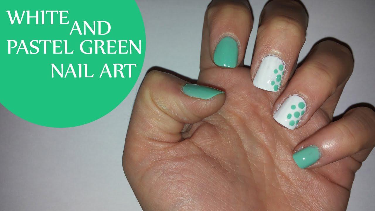 white and pastel green nail art - youtube