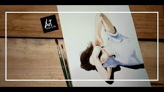 Beautiful Girl Water Colour Painting with Sunlight effect | Drawing Tutorial