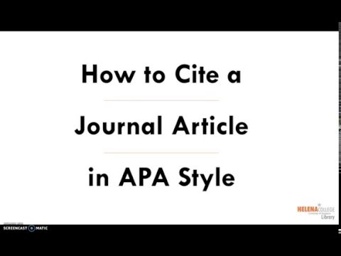 How to Cite a Journal Article in APA Style