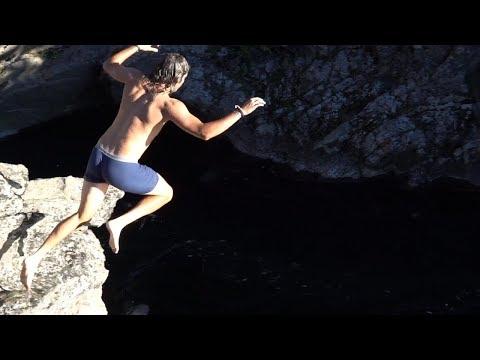 cliff jumping at Yellowstone