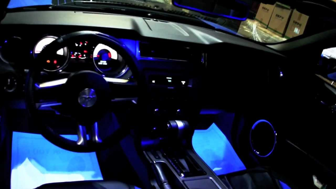 Grabber Blue Ford Mustang With Oracle Blue Led Lights